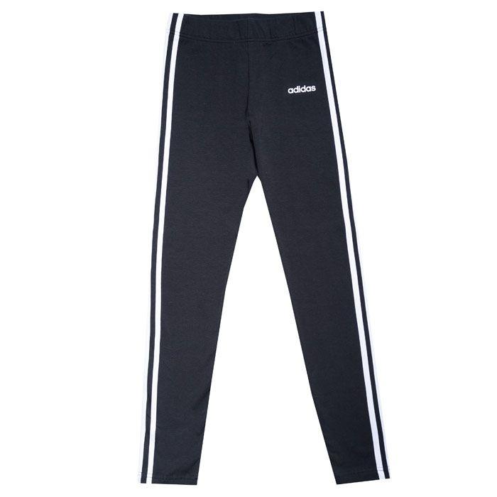 Girl's adidas Junior 3 Stripe Tight Leggings in Black