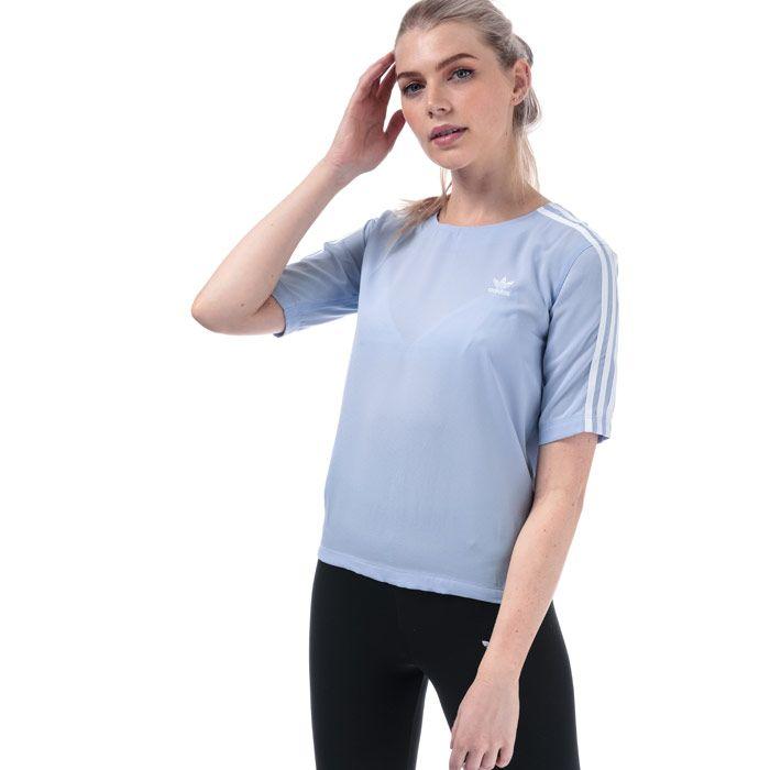 Women's adidas Originals 3-Stripes T-Shirt in Light Blue