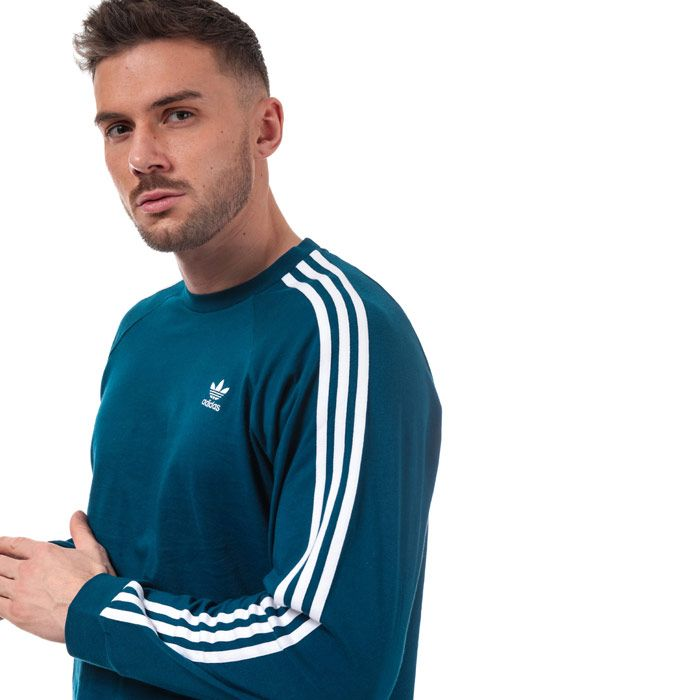 Men's adidas Originals 3 Stripe LS T-Shirt in Navy