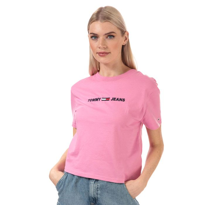 Women's Tommy Hilfiger Modern Logo Cropped Fit T-Shirt in Pink