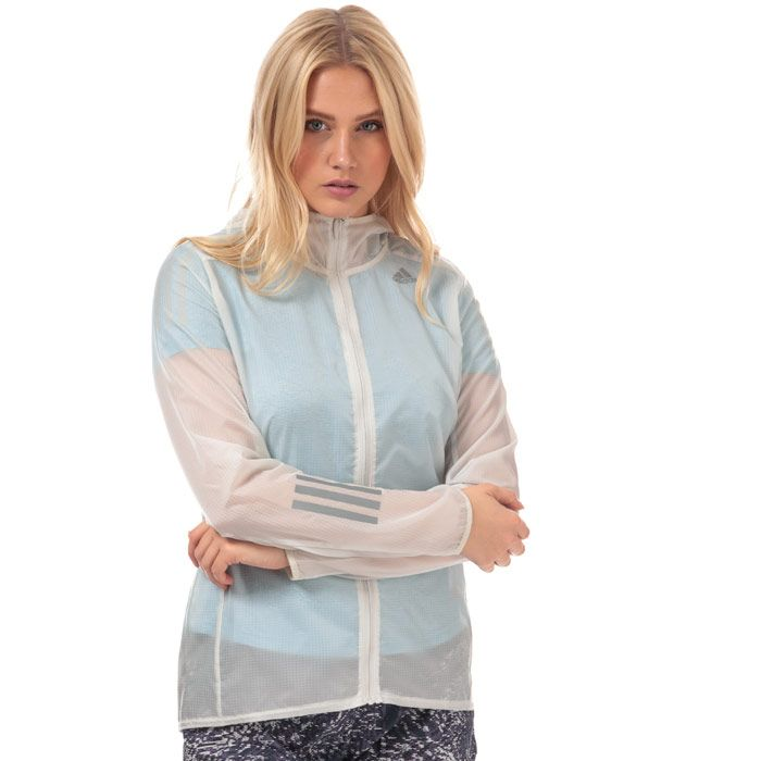 Women's adidas Own The Run Hooded Wind Jacket in Off White