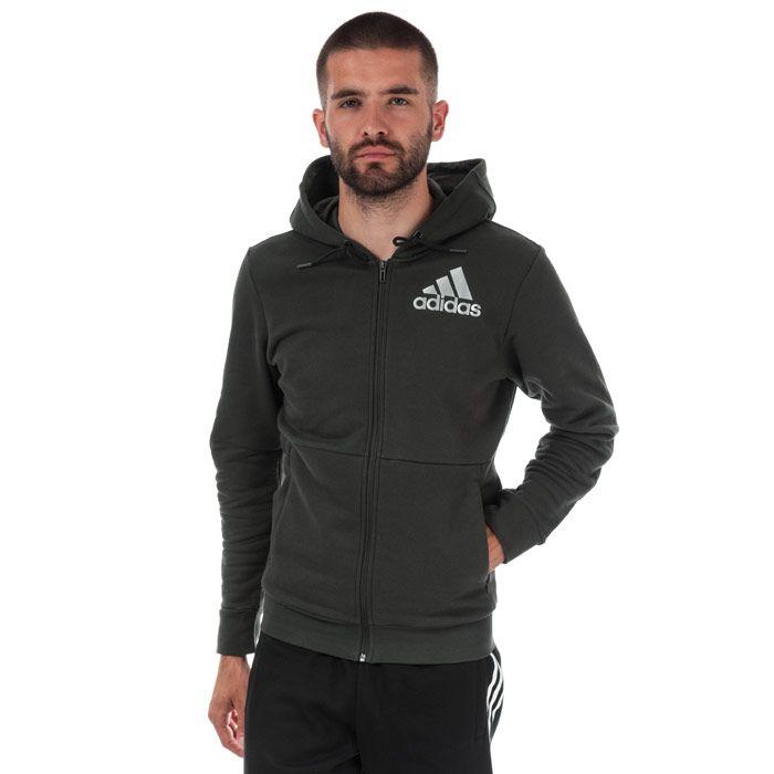 Men's adidas Sport ID ZIp Hoody in Green
