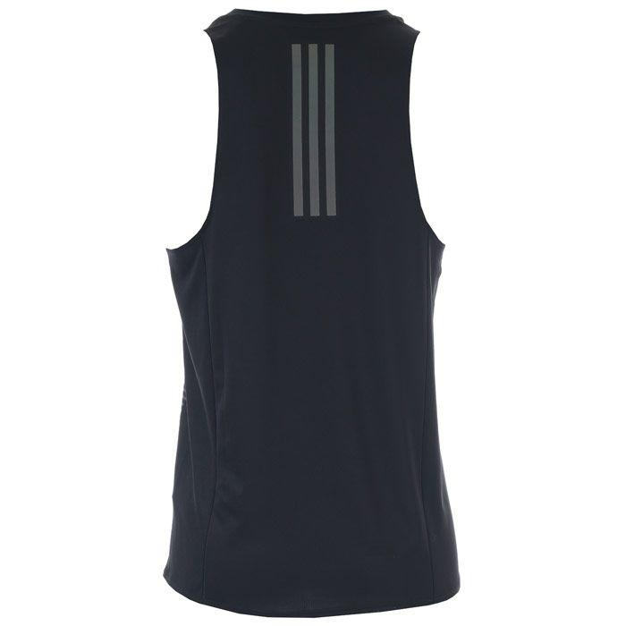 Men's adidas Rise Up N Run Singlet Vest in Black