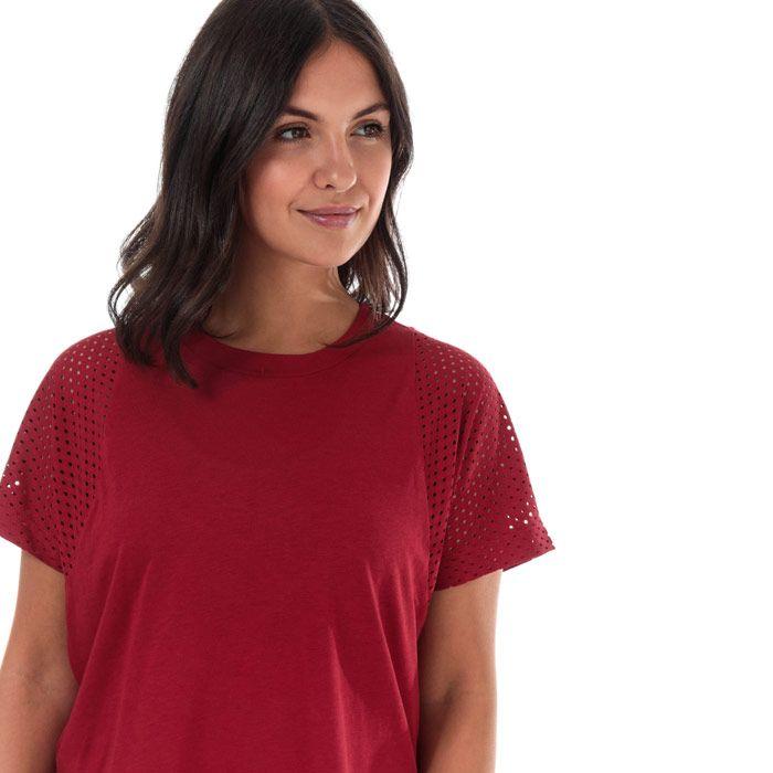 Women's adidas ID Mesh T-Shirt in Burgundy