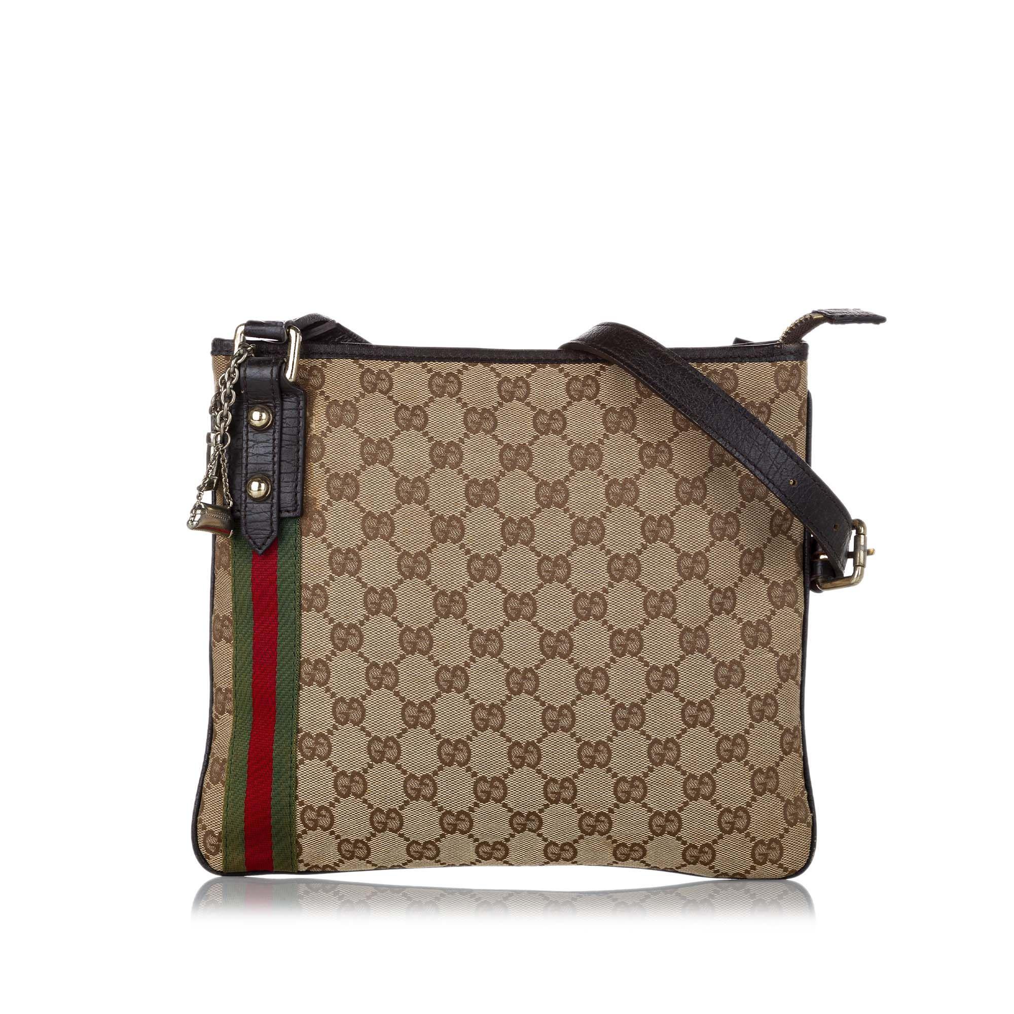 Vintage Gucci GG Canvas Jolicoeur Crossbody Bag Brown
