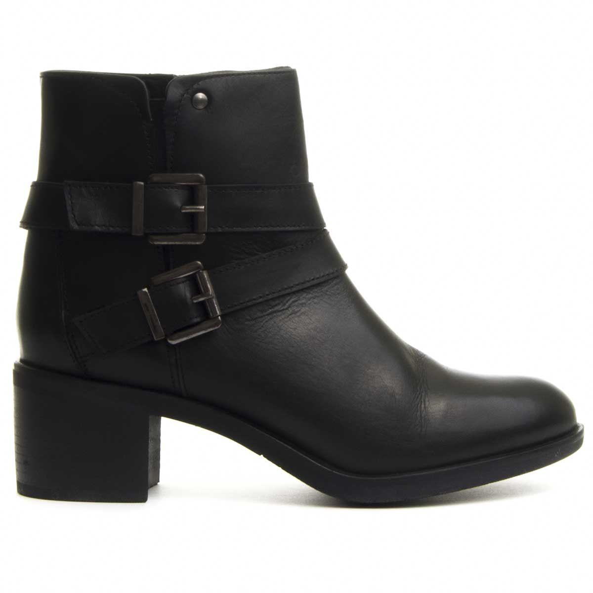 Purapiel Double Buckle Heeled Ankle Boot in Black