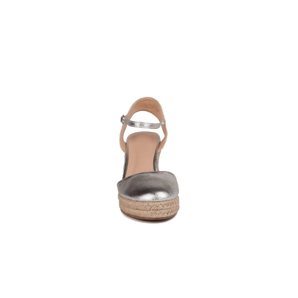 Montevita Ankle Strap Wedge Espadrille in Silver