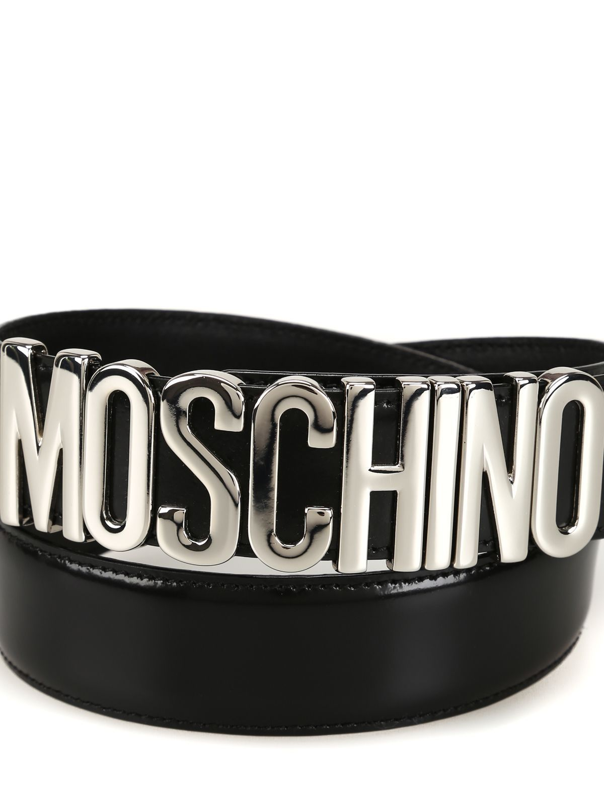 MOSCHINO WOMEN'S A801280071555 BLACK LEATHER BELT