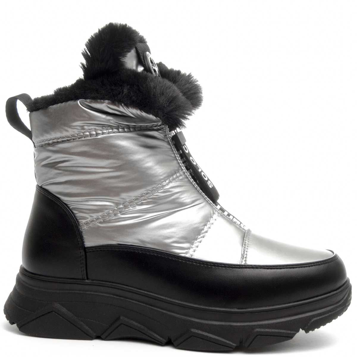 Montevita Chunky Winter Ankle Boot in Silver