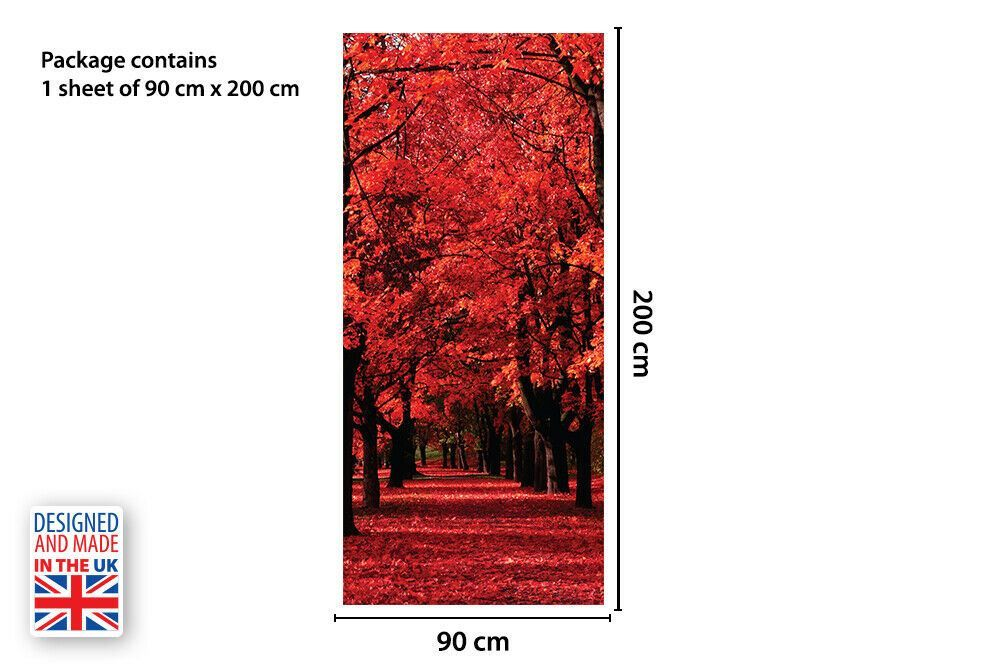 Red Forest Self-Adhesive Door Mural Sticker For All Europe Size 90Cm X 200Cm