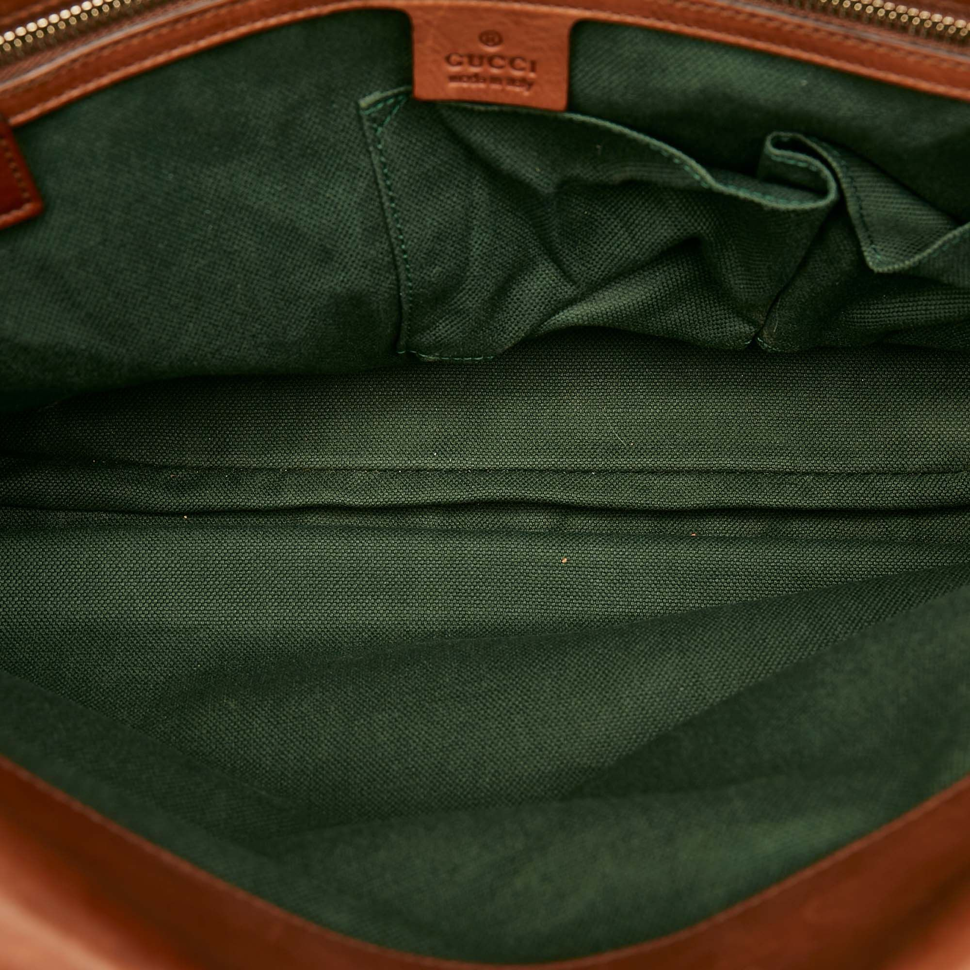 Vintage Gucci Bamboo Leather Briefcase Brown