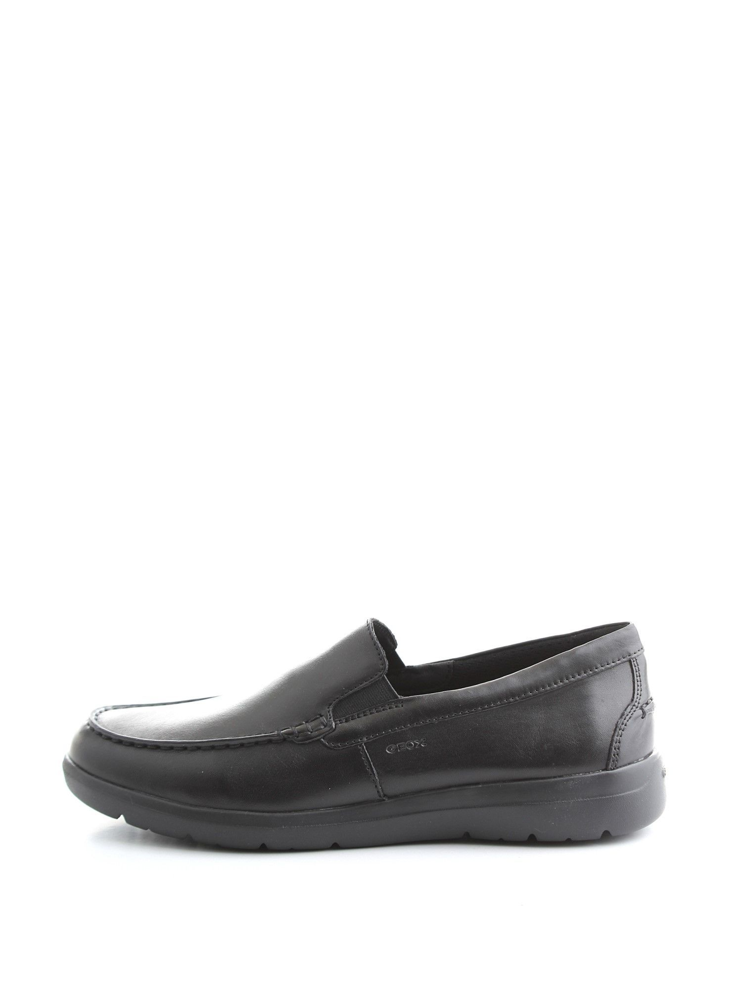 GEOX MEN'S U743QC00043C9999 BLACK LEATHER LOAFERS