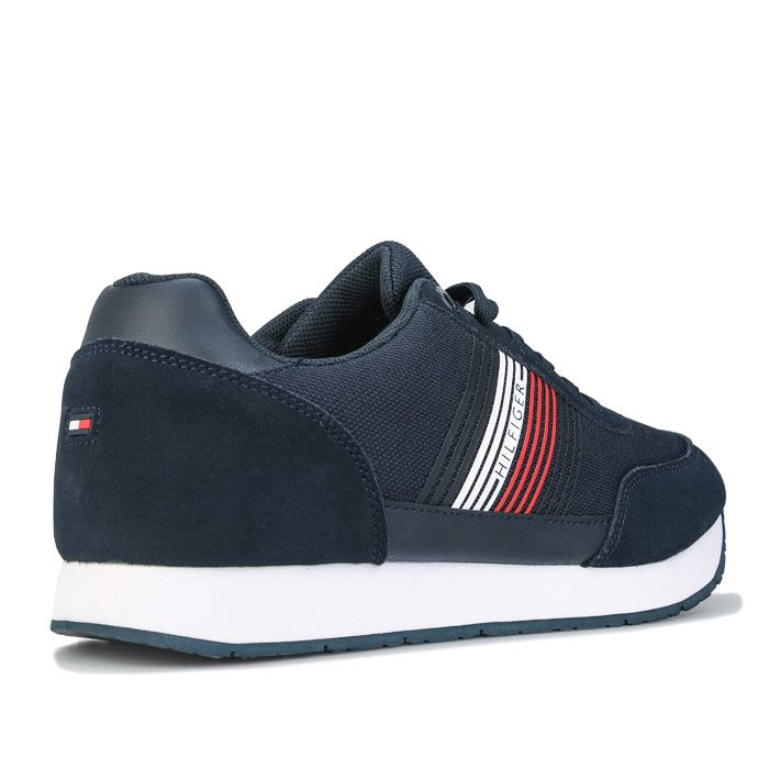 Tommy Hilfiger Men's Suede Mix Runner Trainers in Navy