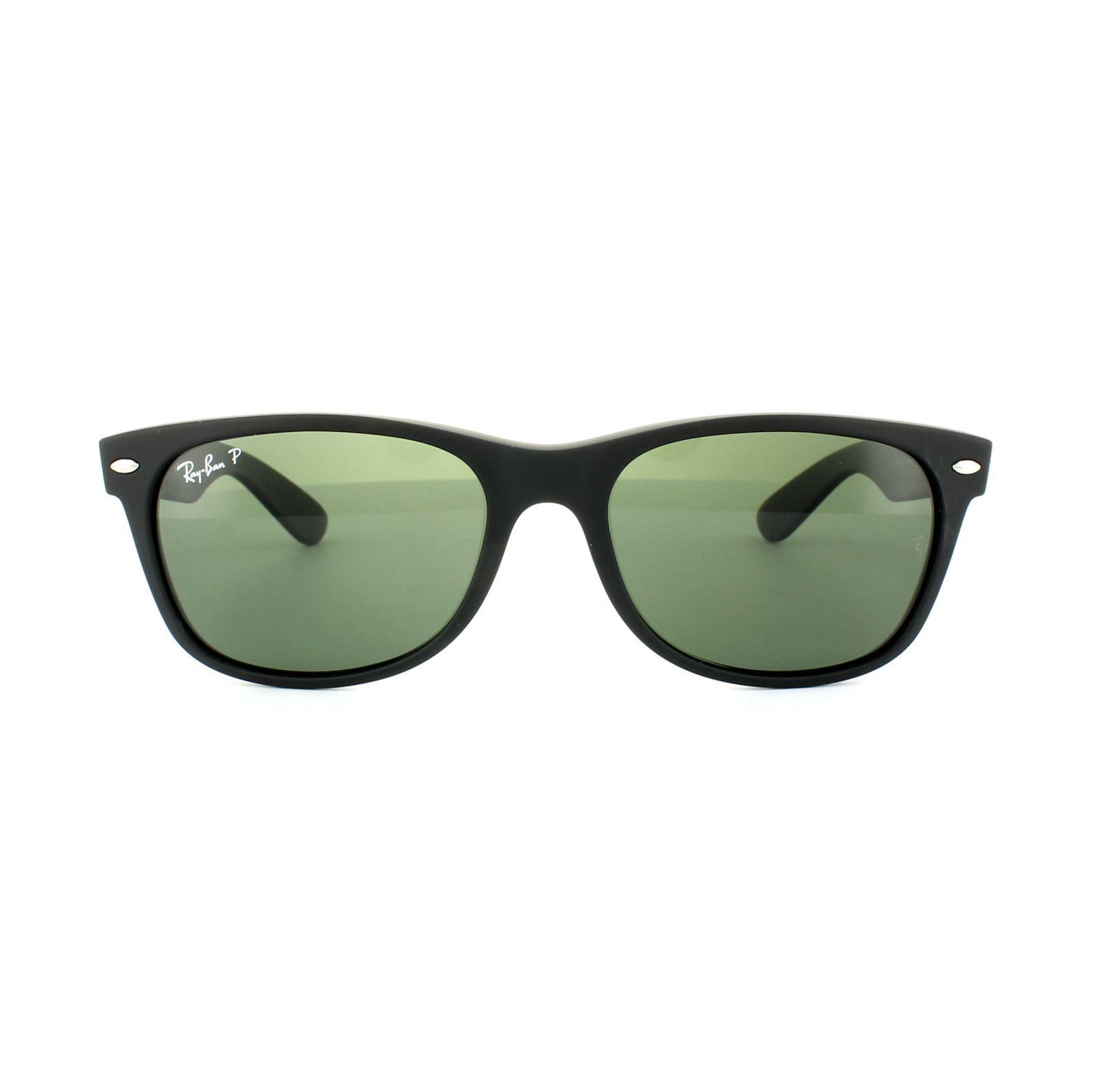 Ray-Ban Sunglasses New Wayfarer 2132 622/58 Rubber Black Green Polarized 55mm