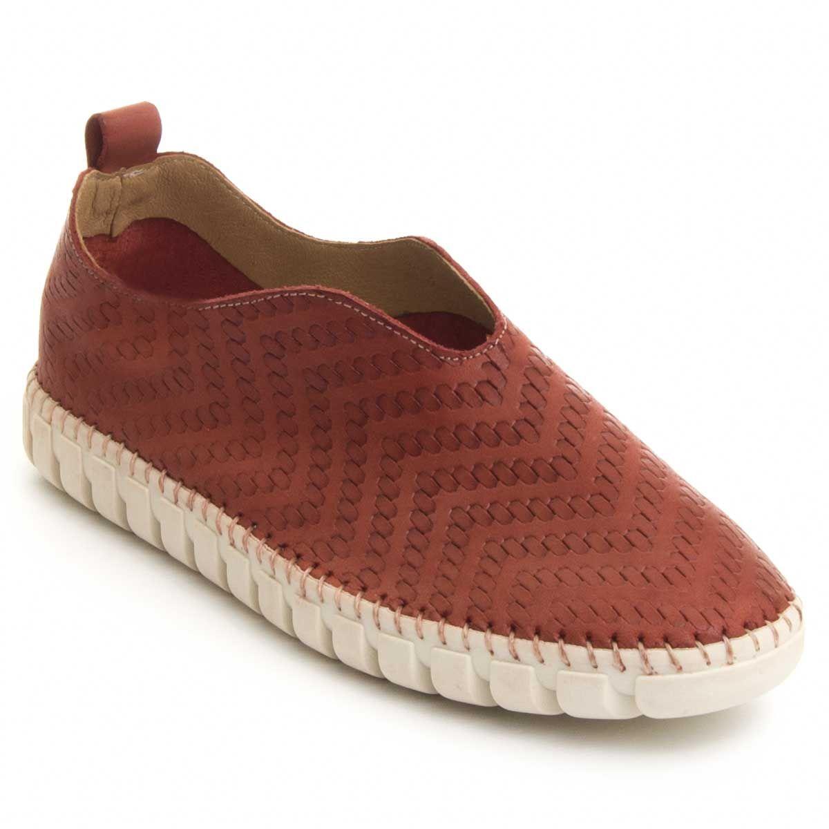 Purapiel Slip-On Moccasin in Red