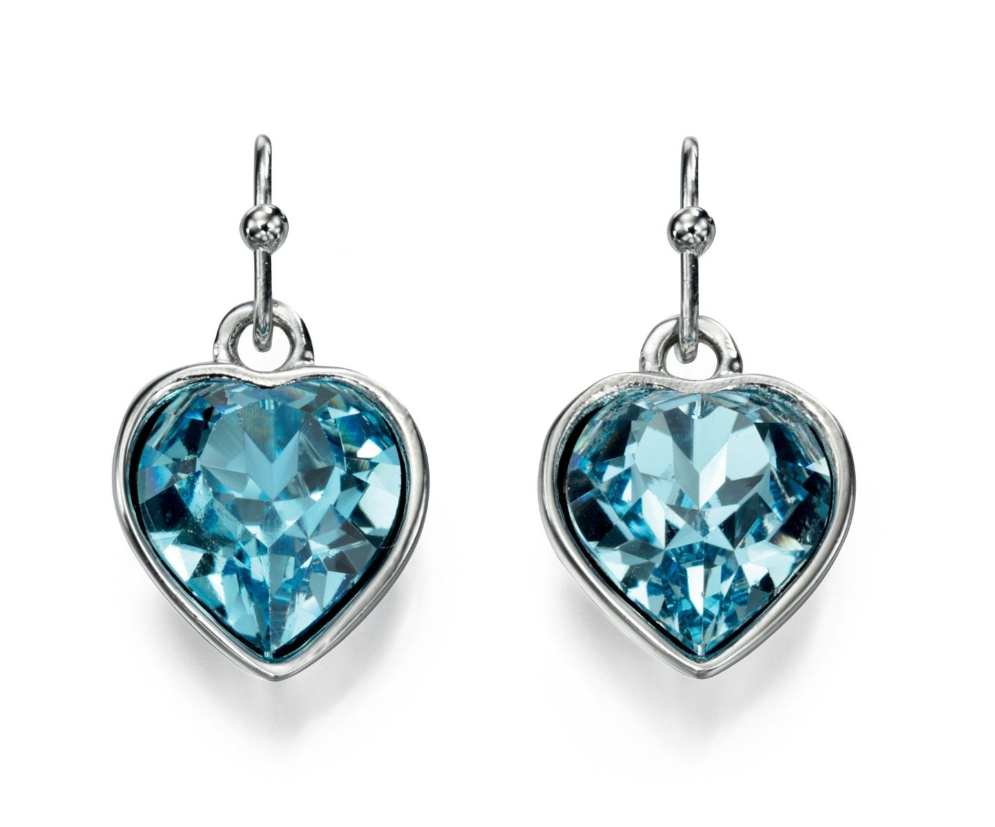 Fiorelli Fashion Imitation Rhodium Plated Blue Crystal by Swarovski Heart Hook Earrings