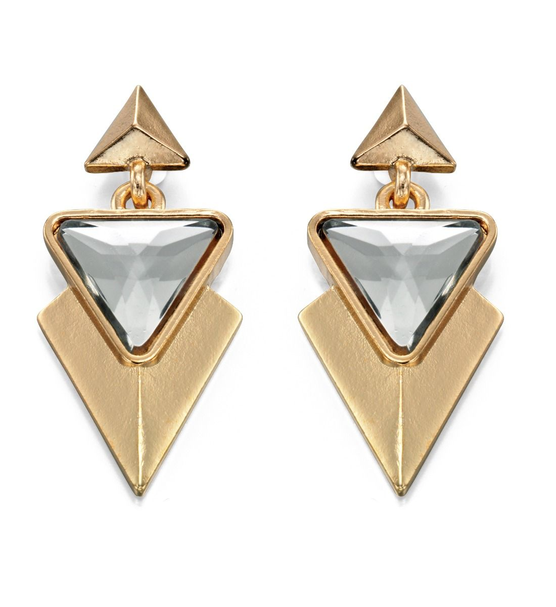 Fiorelli Fashion Gold Plated Triangle Crystal Statement Dangle Stud Earrings