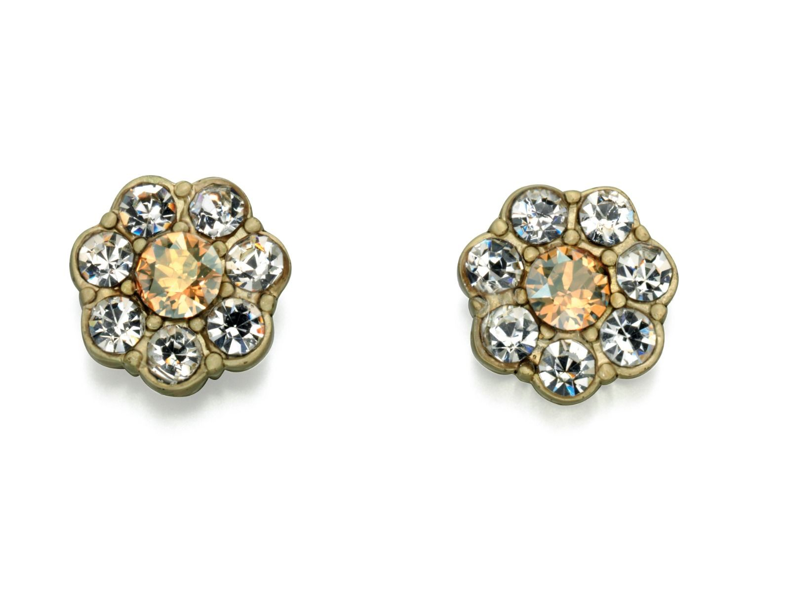 Fiorelli Fashion Gold Plated Gold & Clear Crystal Flower Stud Earrings