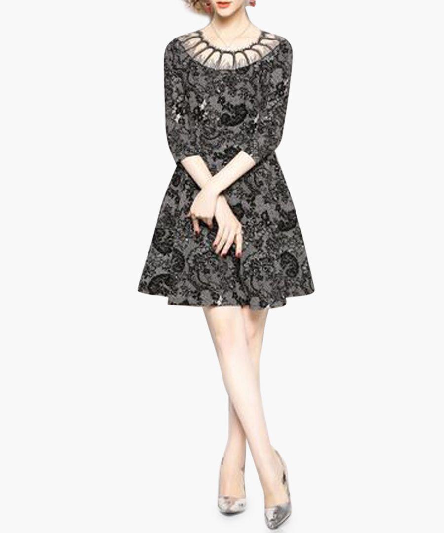 Black and white illusion neck mini dress