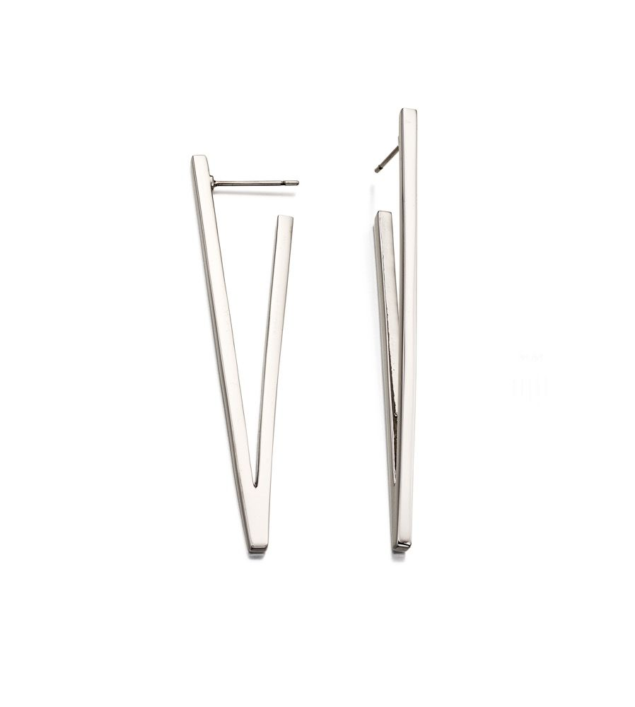Fiorelli Fashion Imitation Rhodium Plated V Shape Bar Earrings