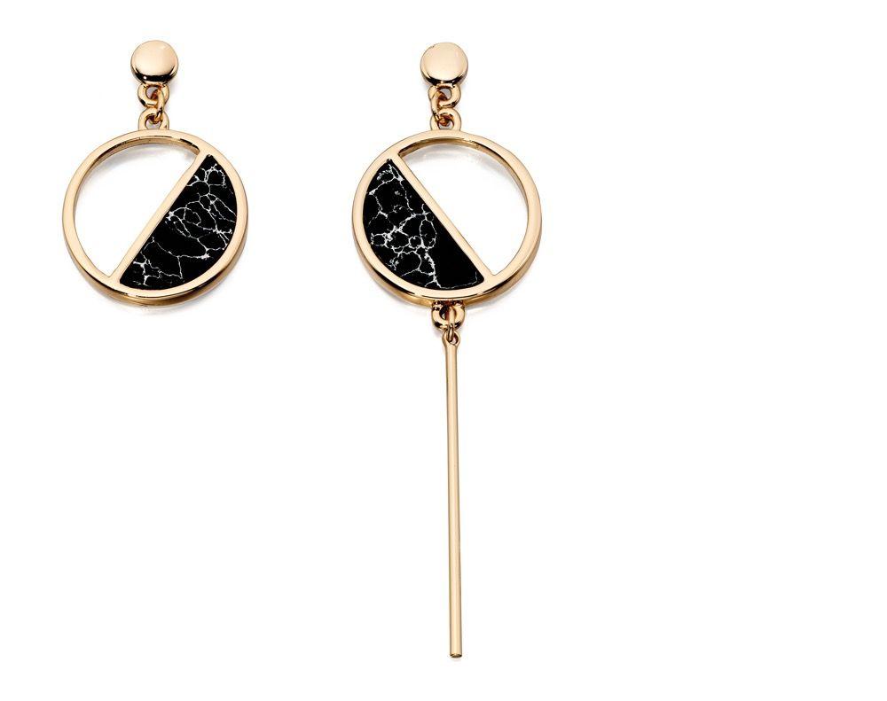 Fiorelli Fashion Gold Plated Black Marble Inlay Circle Mismatch Asymmetric Earrings