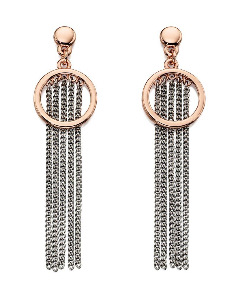 Fiorelli Fashion Rose Gold & Imitation Rhodium Plate Cascade Chain Drop Earrings