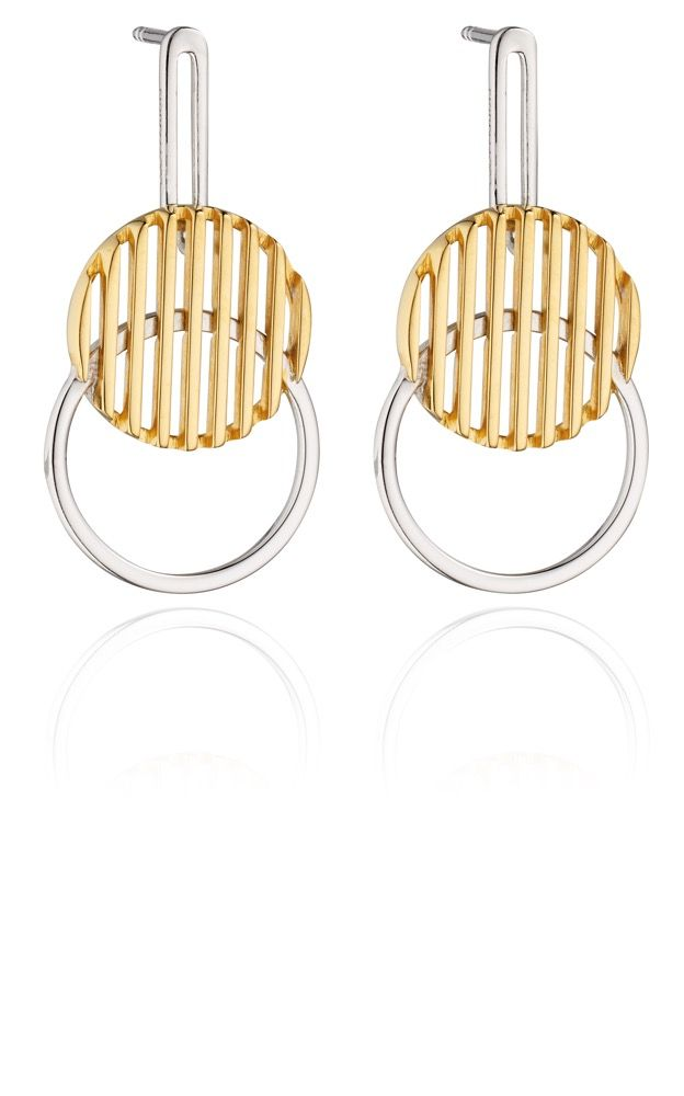 Fiorelli Silver Womens 925 Sterling Silver & Gold Plating Round Disc Drop Stud Earrings