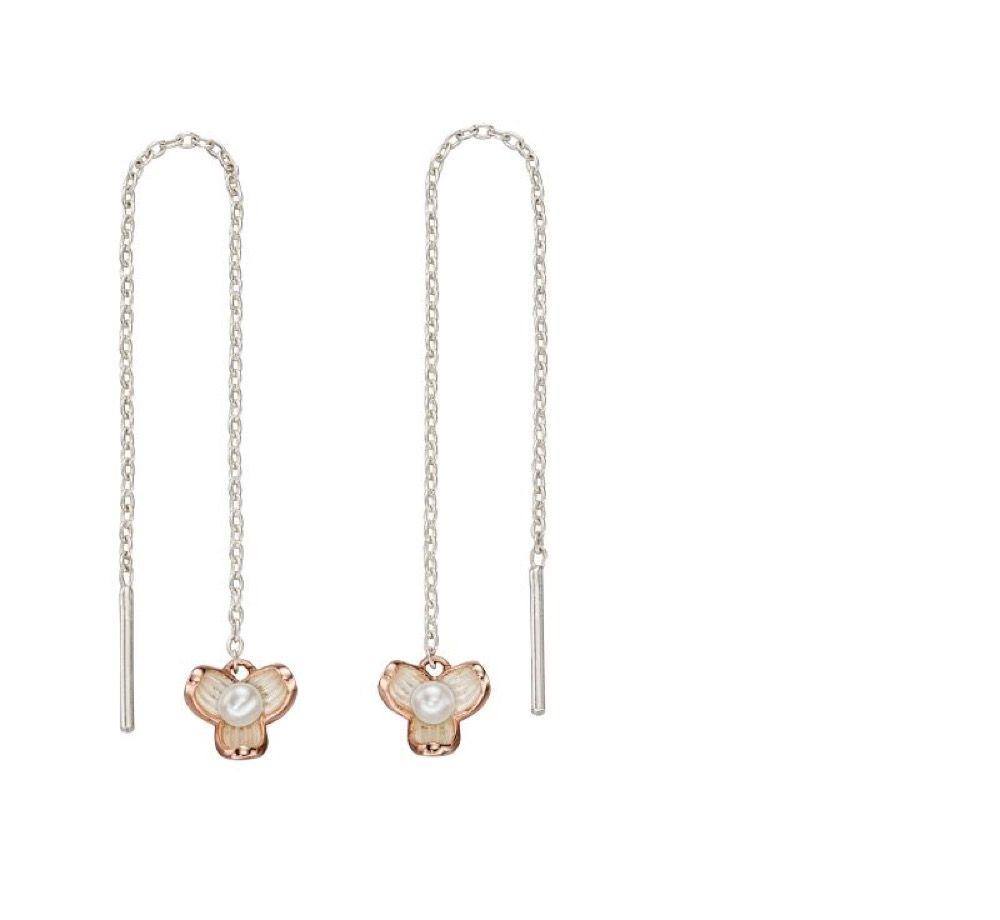 Elements Silver Women Pearl Thread Earrings E5543W