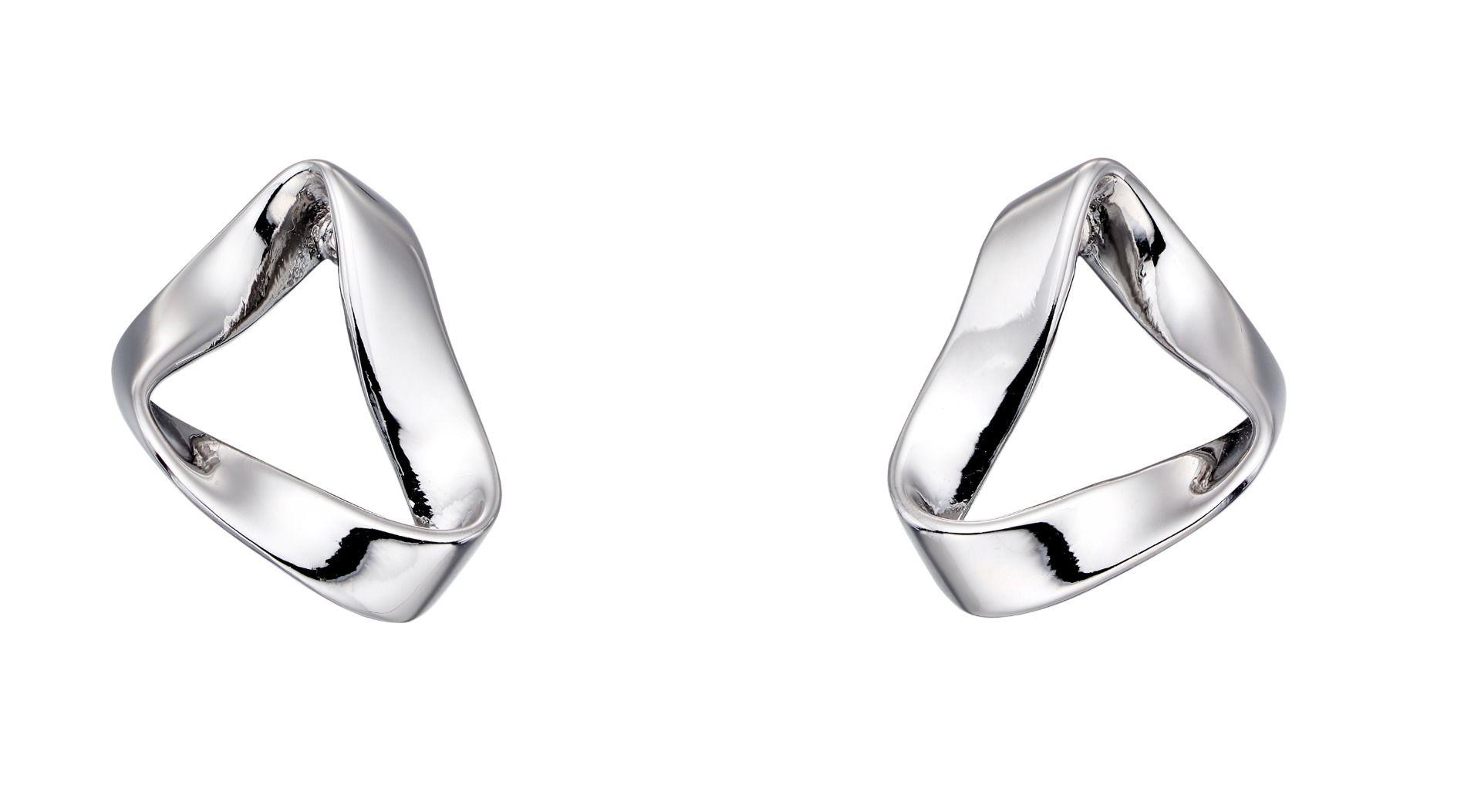 Fiorelli Silver Womens 925 Sterling Silver Folded Open Shape Stud Earrings