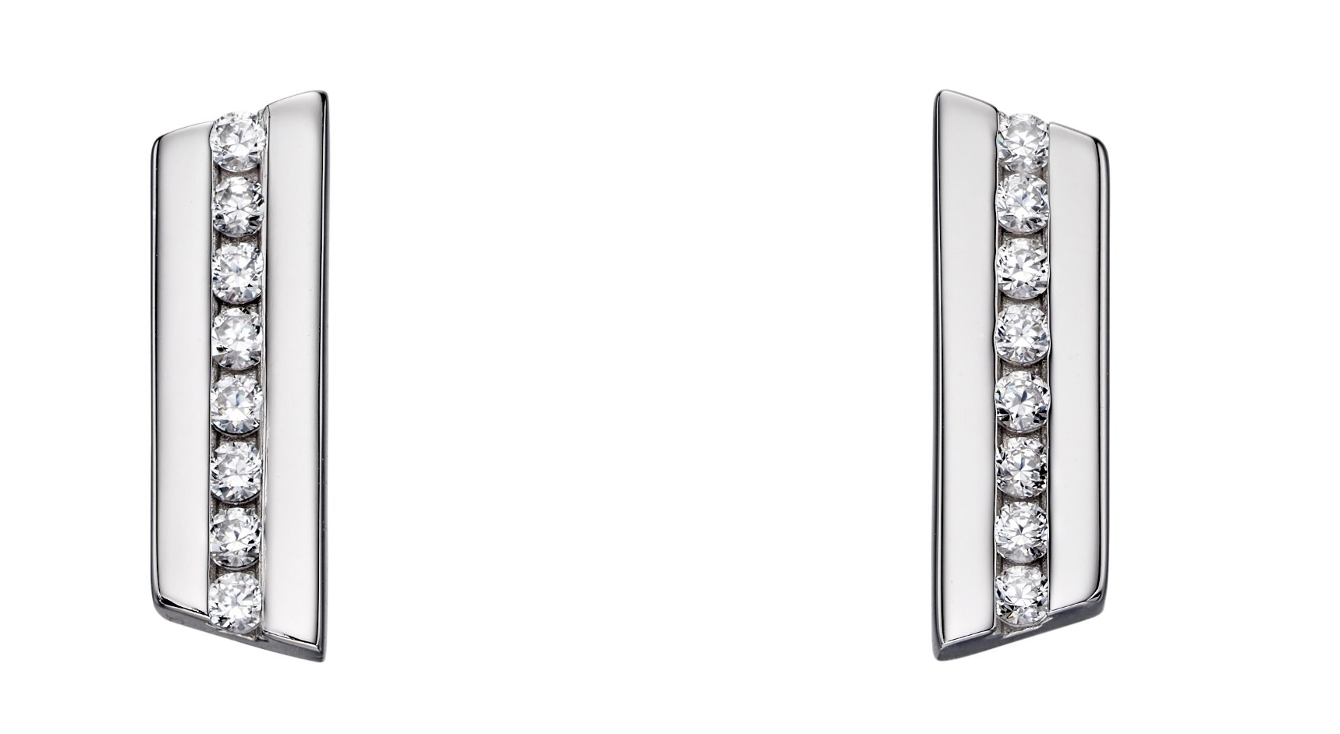 Fiorelli Silver Womens 925 Sterling Silver Cubic Zirconia Angled Bar Shape Stud Earrings