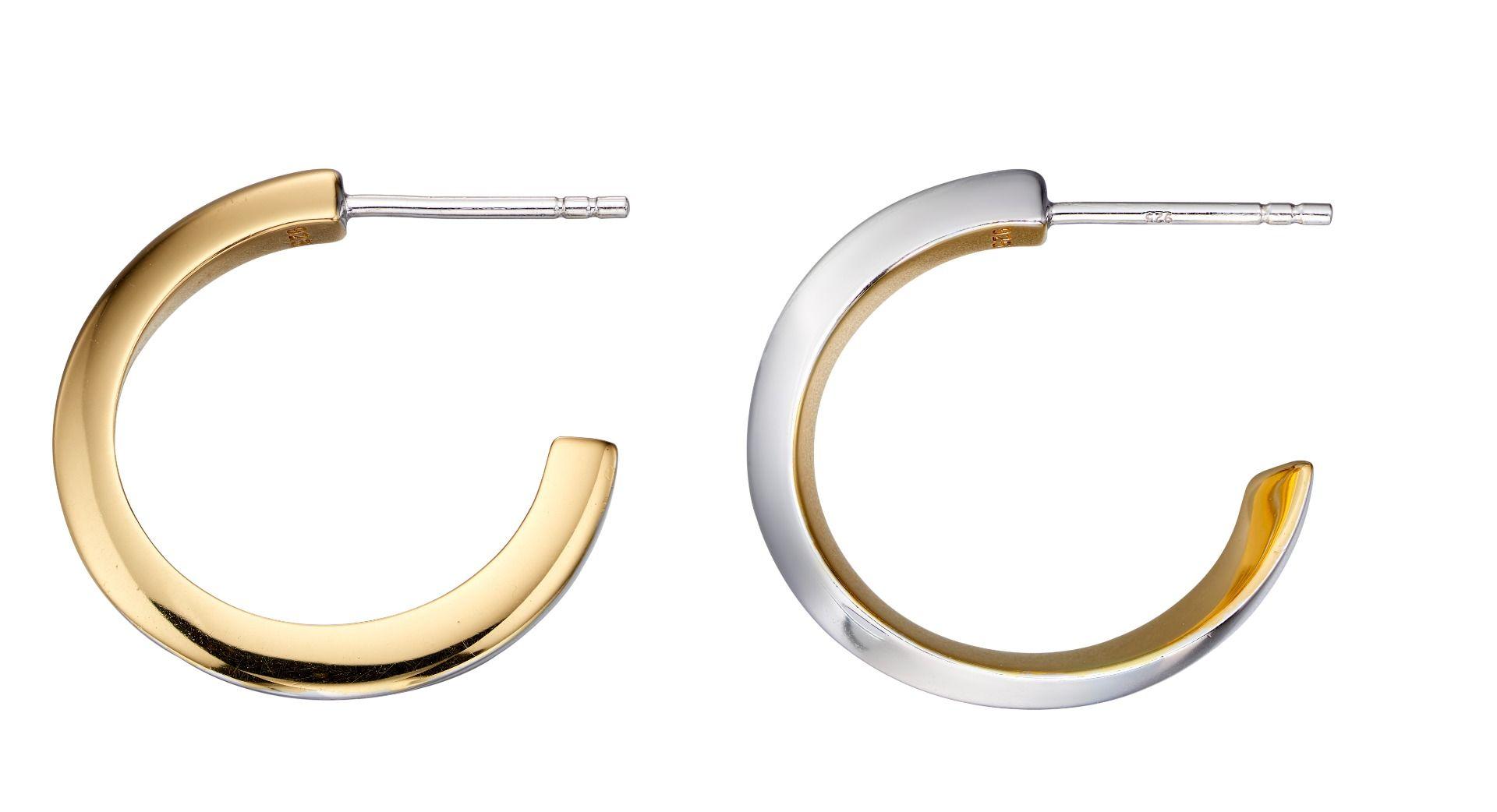 Fiorelli Silver Womens 925 Sterling Silver & Gold Plate Twist Half Hoop Earrings