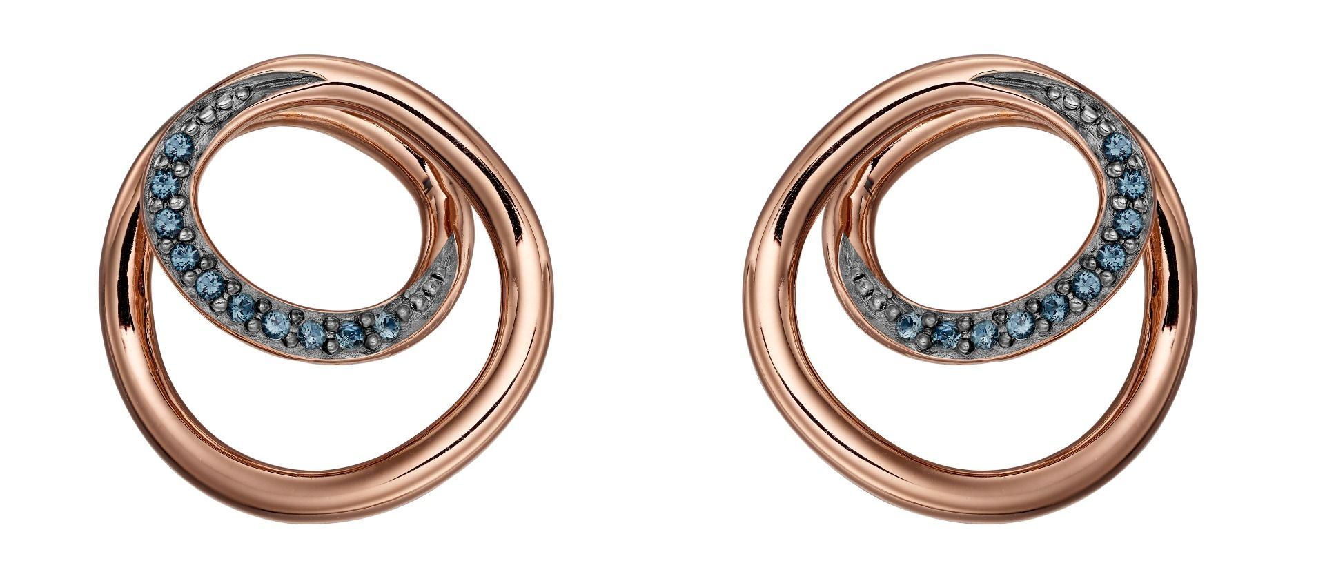 Fiorelli Silver Womens 925 Sterling Silver Montana Blue Nano Crystal & Rose Gold Circle Spiral design Stud Earrings