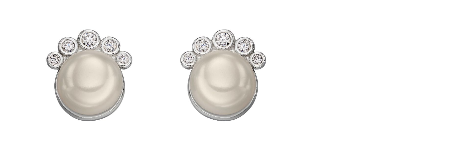 Elements Silver Womens 925 Sterling Silver Freshwater Pearl & Cubic Zirconia Round Stud Earrings E5678W