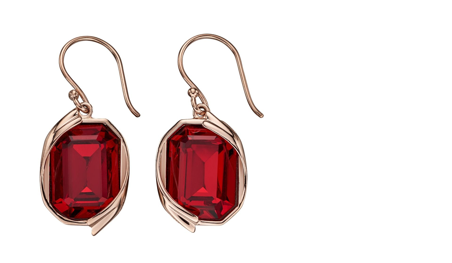 Elements Silver Womens 925 Sterling Silver Siam Red Crystal by Swarovski Rose Gold Hook Earrings E5691R