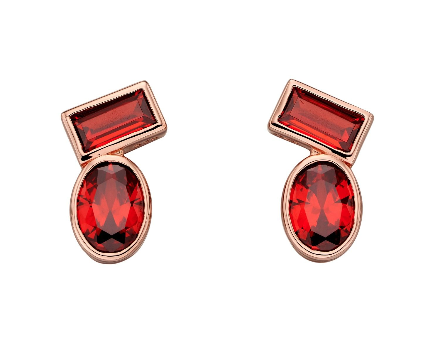 Fiorelli Silver Womens 925 Sterling Silver Rose Gold Plated Orange Cubic Zirconia Stud Earrings
