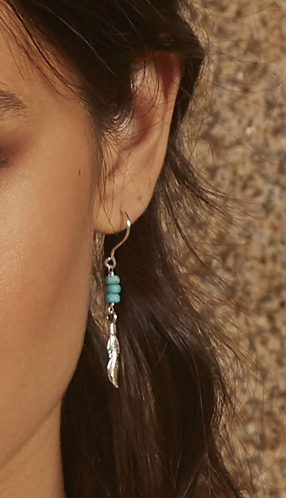 Beginnings 925 Sterling Silver Ladies' Blue Magnesite Stone Silver Feather Charm Drop Hook Earrings