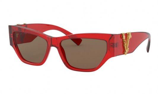 Versace Rectangular plastic Women Sunglasses Transparent Red / Brown