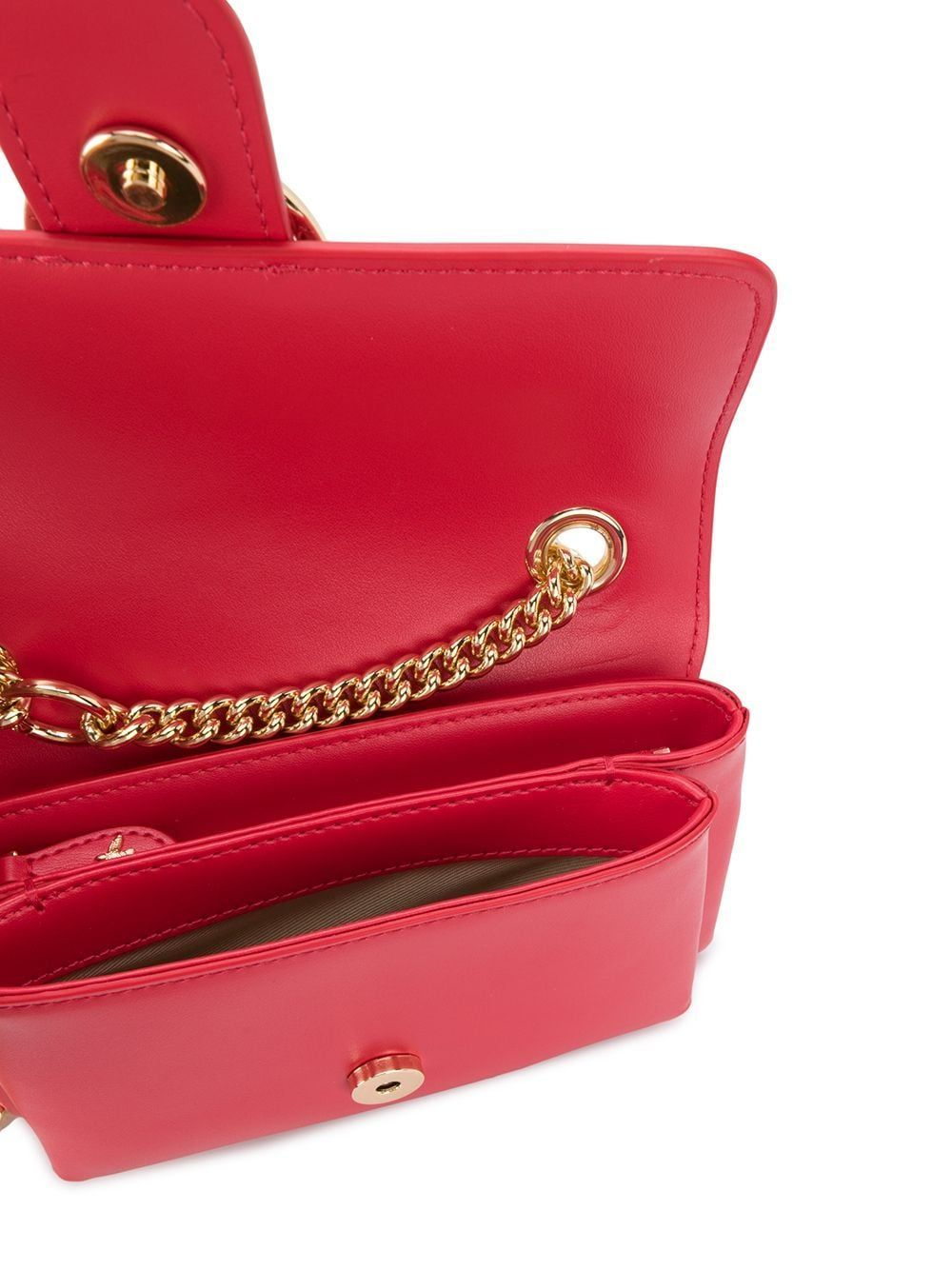 PINKO WOMEN'S 1P21QQY5FFR24 RED LEATHER SHOULDER BAG
