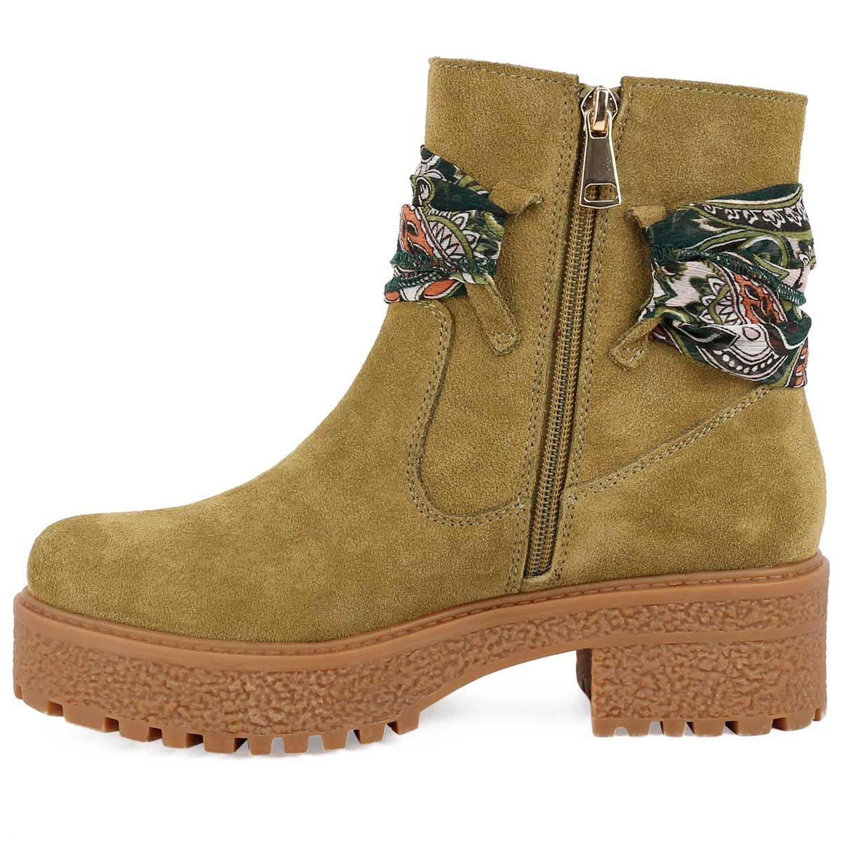 Montevita Scarf Tie Ankle Boot in Taupe