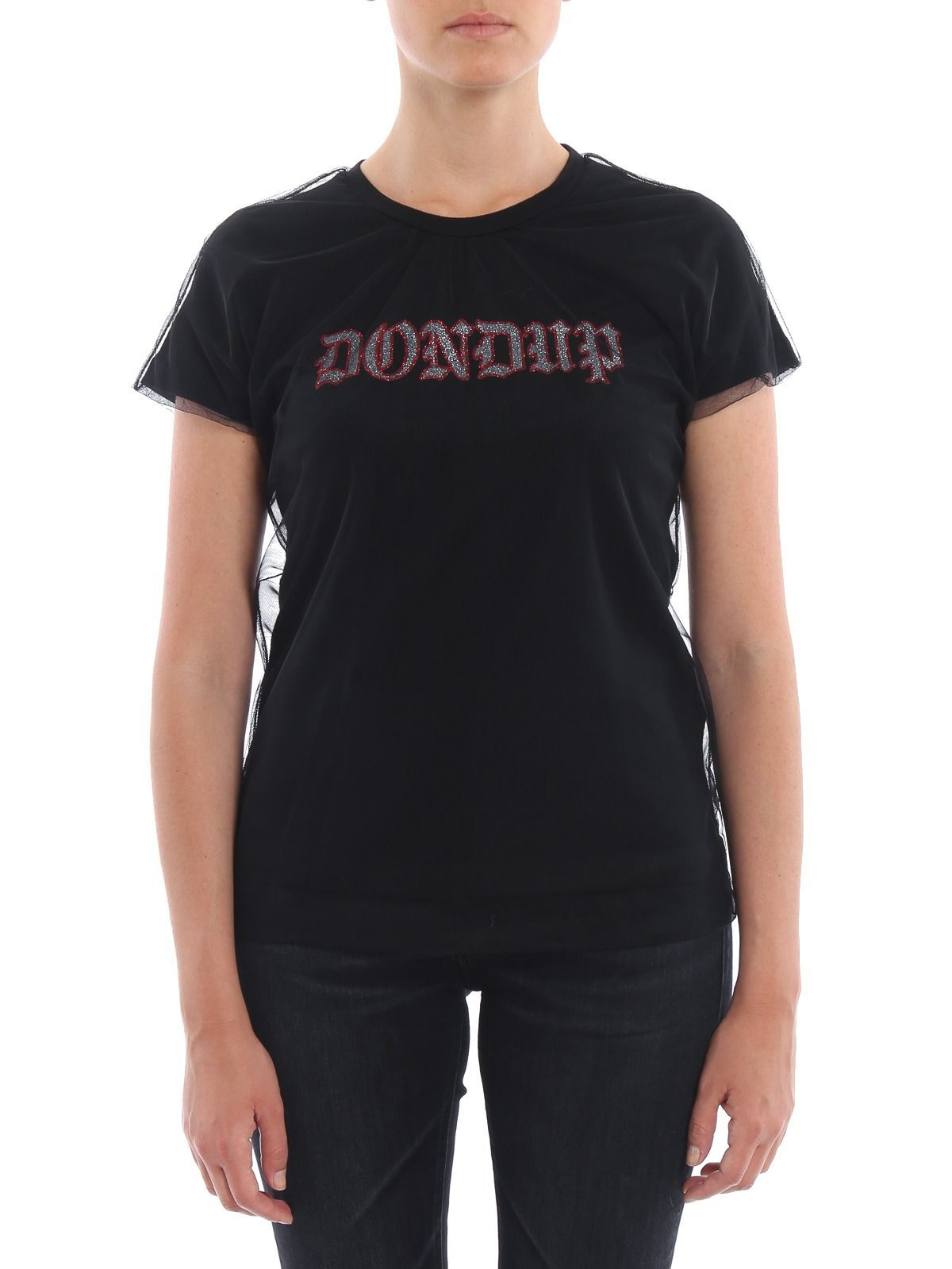 DONDUP WOMEN'S S810JF0234P87999 BLACK COTTON T-SHIRT