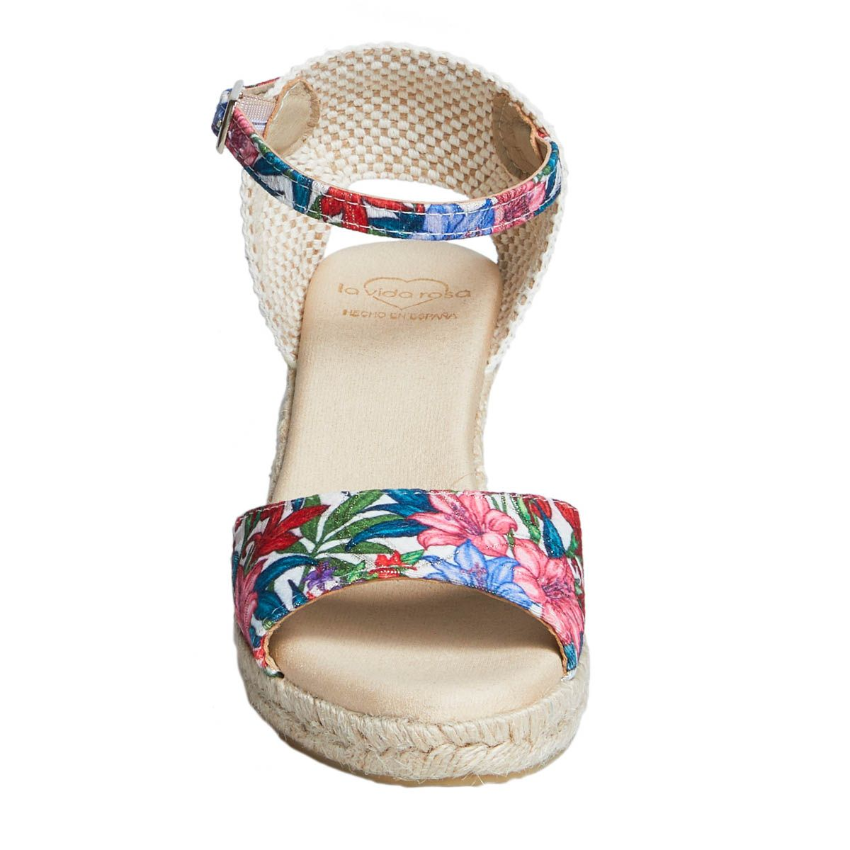 Leindia Ankle Strap Wedge Espadrille in Pink