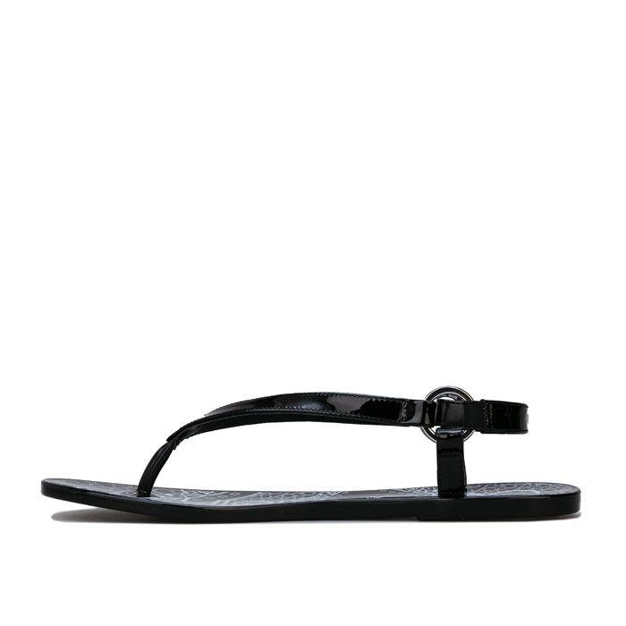 Women's Calvin Klein Julissa Bandana Print Sandals in Black