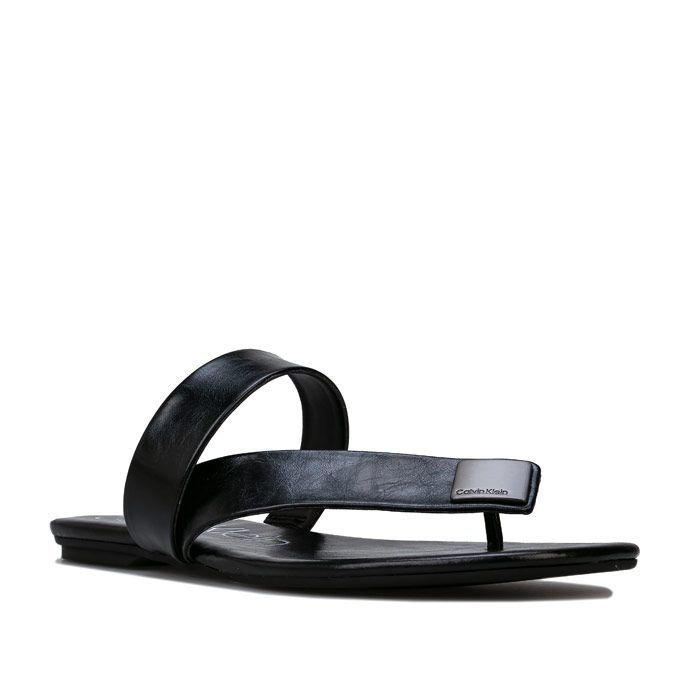 Women's Calvin Klein Saurin Varnished Crackle Sandals in Black