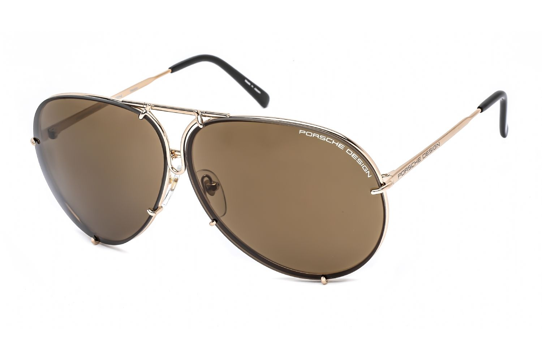 Porsche Avaitor metal Unisex Sunglasses Light Gold / Brown