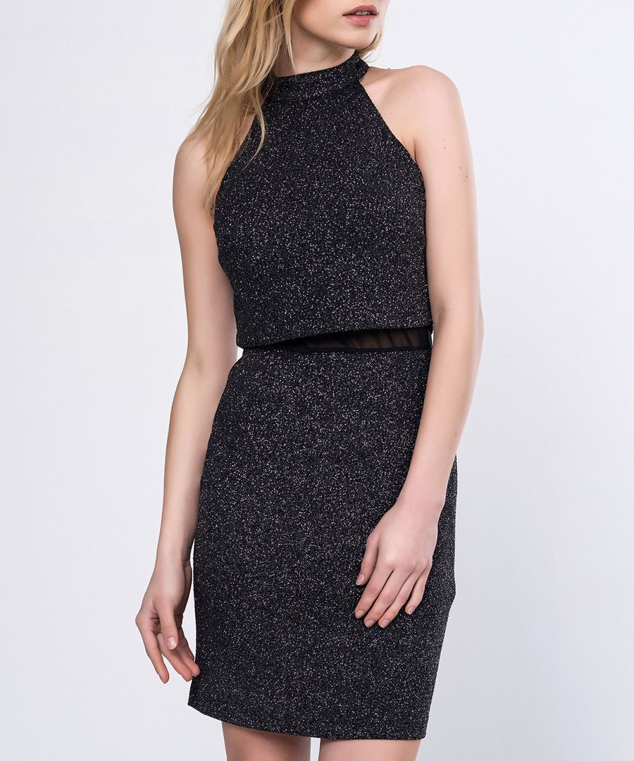 Black glitter high neck mini dress