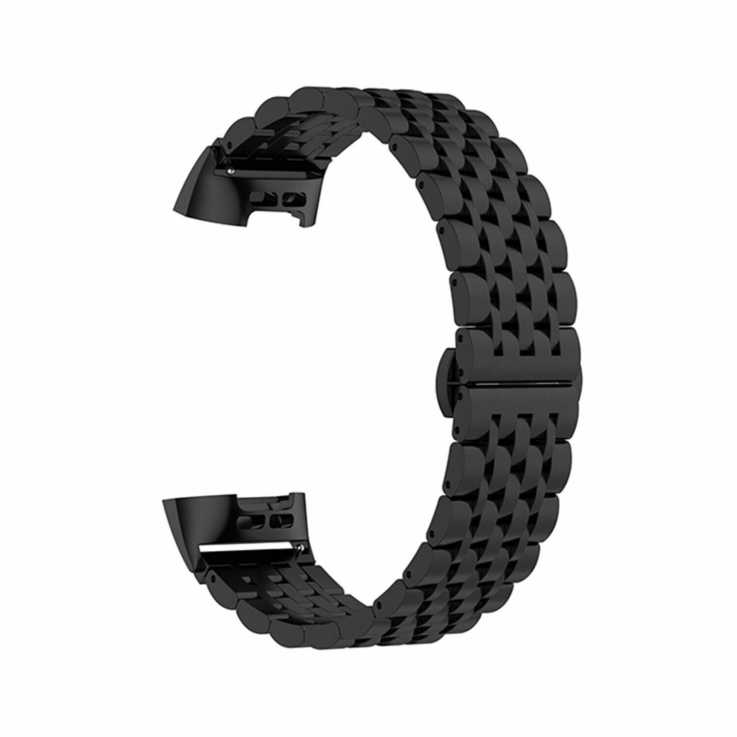 Aquarius Metal Watch Band for Fitbit Charge 3 Black