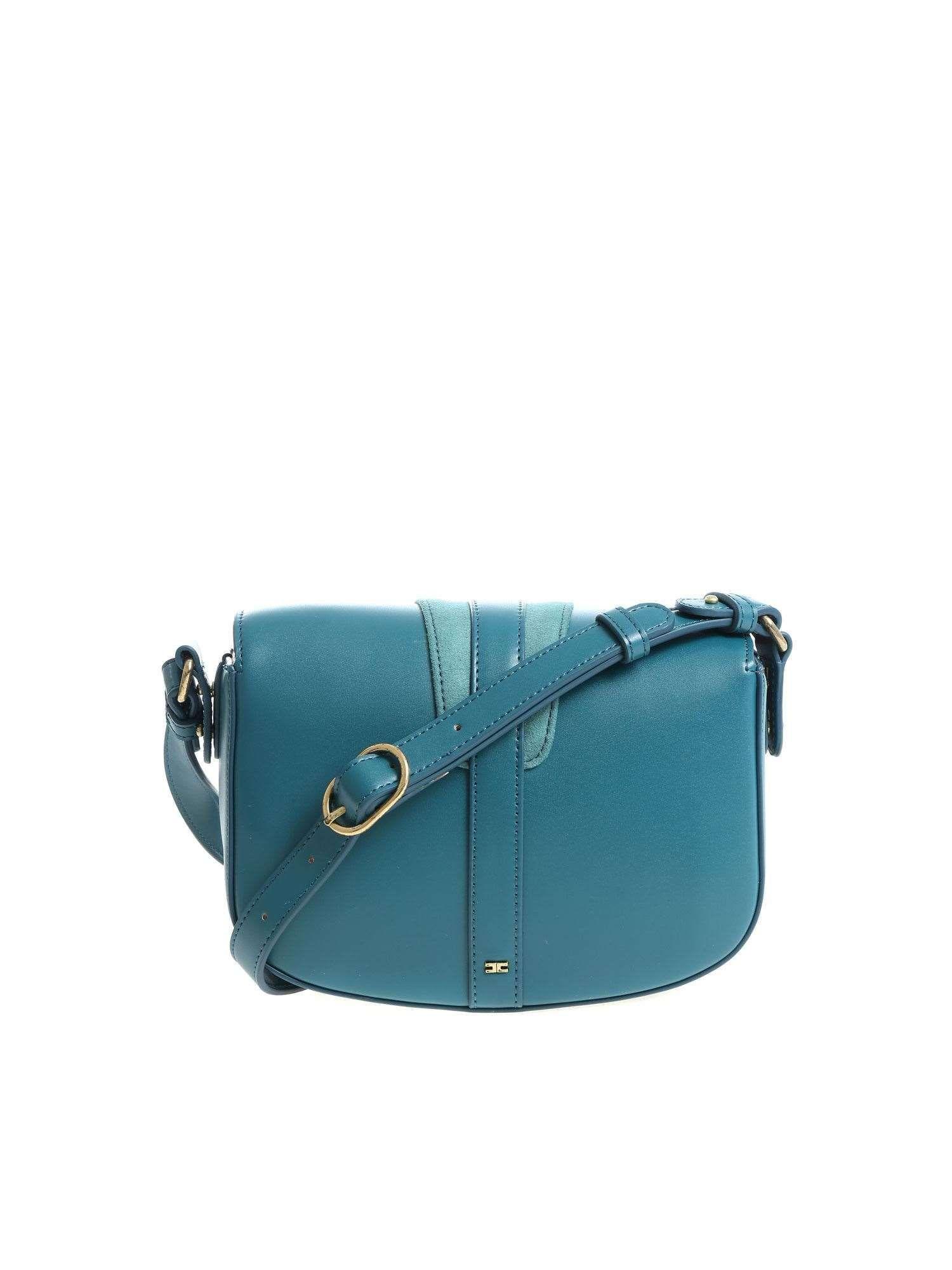 ELISABETTA FRANCHI WOMEN'S BS52A87E2804 BLUE FAUX LEATHER SHOULDER BAG