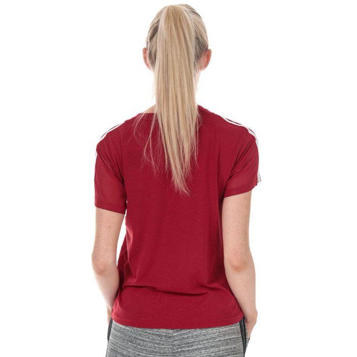 Women's adidas 3-Stripes Mesh Sleeve T-Shirt in Burgundy