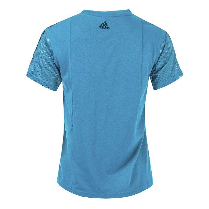 Women's adidas 3-Stripes Mesh Sleeve T-Shirt in Teal