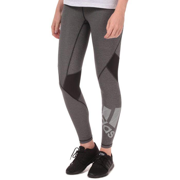 Women's adidas Alphaskin Badge Of Sport Leggings in Black Marl
